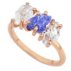 7.17cts natural blue tanzanite raw 14k rose gold handmade ring size 7 t14019