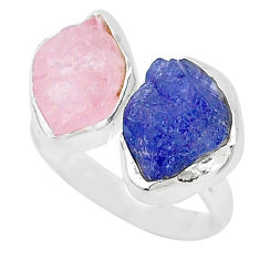 12.43cts natural blue tanzanite raw 925 silver adjustable ring size 8.5 t9976