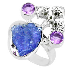 9.05cts natural blue tanzanite raw 925 silver holy cross ring size 6 r74025