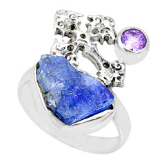 7.04cts natural blue tanzanite raw 925 silver holy cross ring size 6 r74029