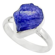 6.03cts natural blue tanzanite rough 925 silver solitaire ring size 8.5 r29578
