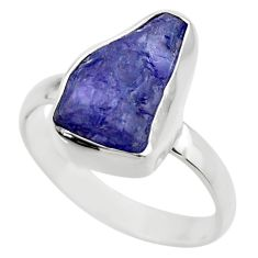 6.03cts natural blue tanzanite rough 925 silver solitaire ring size 8.5 r29579