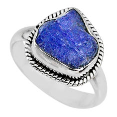 6.05cts natural blue tanzanite rough 925 silver solitaire ring size 8.5 r61785