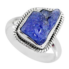 6.36cts natural blue tanzanite rough 925 silver solitaire ring size 7.5 r61797