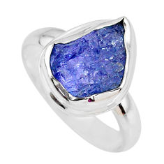 5.63cts natural blue tanzanite rough 925 silver solitaire ring size 8.5 r61803