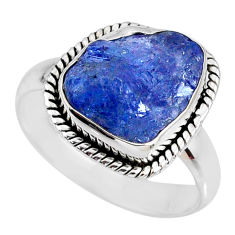 6.36cts natural blue tanzanite rough 925 silver solitaire ring size 7.5 r61818