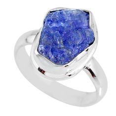 7.07cts natural blue tanzanite rough 925 silver solitaire ring size 8.5 r61821