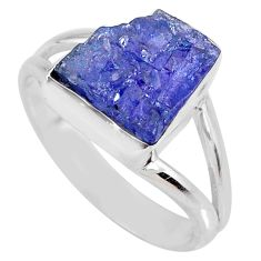 5.06cts natural blue tanzanite rough 925 silver solitaire ring size 8.5 r61867