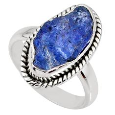 6.51cts natural blue tanzanite rough 925 silver solitaire ring size 6.5 r61880