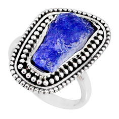 6.83cts natural blue tanzanite raw 925 silver solitaire ring size 6.5 r66730