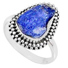 6.38cts natural blue tanzanite raw 925 silver solitaire ring size 7.5 r66735