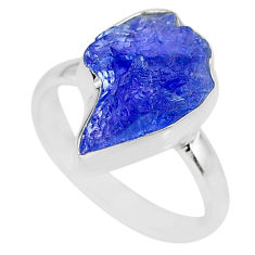 6.19cts natural blue tanzanite raw 925 silver solitaire ring size 7.5 r91805