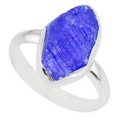 6.45cts natural blue tanzanite raw 925 silver solitaire ring size 8.5 r91826