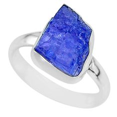 6.03cts natural blue tanzanite raw 925 silver solitaire ring size 7.5 r91829