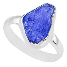 6.03cts natural blue tanzanite raw 925 silver solitaire ring size 8.5 r91836