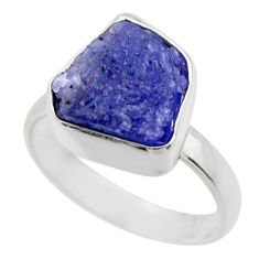 5.84cts natural blue tanzanite rough 925 silver solitaire ring size 6 r29561