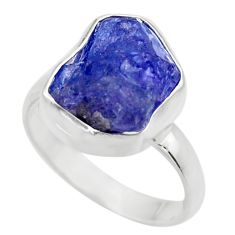 6.35cts natural blue tanzanite rough 925 silver solitaire ring size 6 r29569