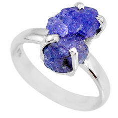 5.22cts natural blue tanzanite rough 925 silver solitaire ring size 6 r61901