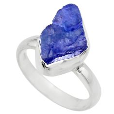 5.51cts natural blue tanzanite rough 925 silver solitaire ring size 7 r29574