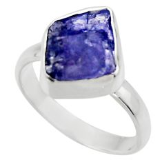 5.84cts natural blue tanzanite rough 925 silver solitaire ring size 7 r29581