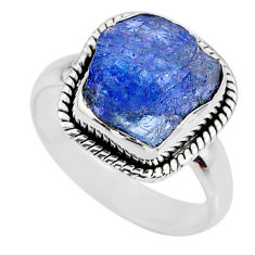 5.54cts natural blue tanzanite rough 925 silver solitaire ring size 7 r61807