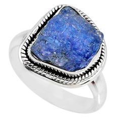 6.54cts natural blue tanzanite rough 925 silver solitaire ring size 7 r61859