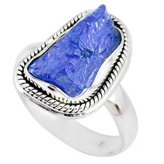 8.22cts natural blue tanzanite raw silver solitaire handmade ring size 7 r74033