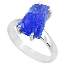 5.54cts natural blue tanzanite raw 925 silver solitaire ring size 7 r91765