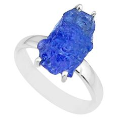 5.92cts natural blue tanzanite raw 925 silver solitaire ring size 7 r91782