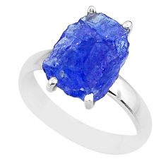 5.92cts natural blue tanzanite raw 925 silver solitaire ring size 7 r91786