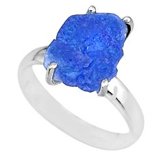 6.58cts natural blue tanzanite raw 925 silver solitaire ring size 7 r91790