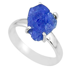 5.90cts natural blue tanzanite raw 925 silver solitaire ring size 7 r91798