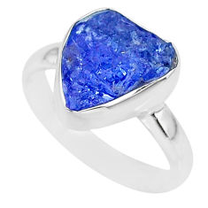 6.14cts natural blue tanzanite raw 925 silver solitaire ring size 7 r91803