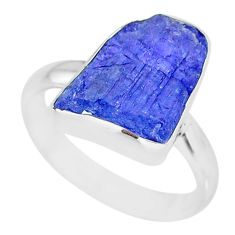 5.11cts natural blue tanzanite raw 925 silver solitaire ring size 7 r91818
