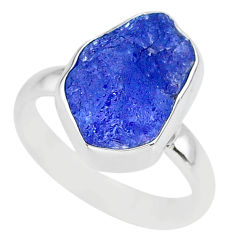 5.84cts natural blue tanzanite raw 925 silver solitaire ring size 7 r91821