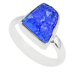 5.54cts natural blue tanzanite raw 925 silver solitaire ring size 7 r91828