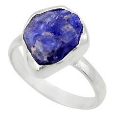 6.01cts natural blue tanzanite rough 925 silver solitaire ring size 8 r29562