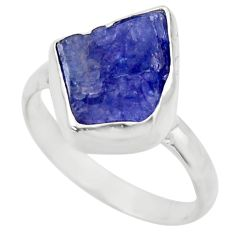 6.72cts natural blue tanzanite rough 925 silver solitaire ring size 8 r29565