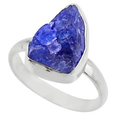 7.04cts natural blue tanzanite rough 925 silver solitaire ring size 8 r29568