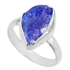 6.09cts natural blue tanzanite rough 925 silver solitaire ring size 8 r29572