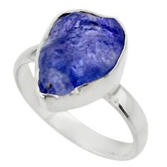 6.03cts natural blue tanzanite rough 925 silver solitaire ring size 8 r29586