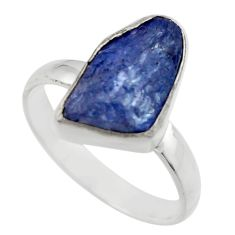 5.79cts natural blue tanzanite rough 925 silver solitaire ring size 8 r29588