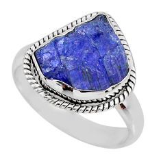 6.02cts natural blue tanzanite rough 925 silver solitaire ring size 8 r61800