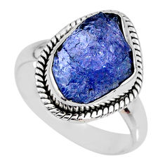 5.58cts natural blue tanzanite rough 925 silver solitaire ring size 8 r61814
