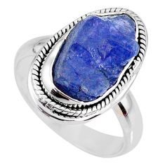 7.11cts natural blue tanzanite rough 925 silver solitaire ring size 8 r61848