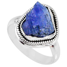 6.54cts natural blue tanzanite rough 925 silver solitaire ring size 8 r61857