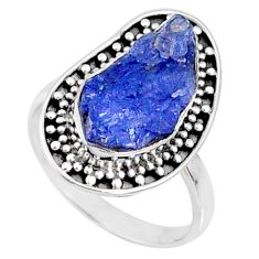 6.95cts natural blue tanzanite raw 925 silver solitaire ring size 8 r66734