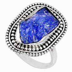 8.22cts natural blue tanzanite raw 925 silver solitaire ring size 8 r66738