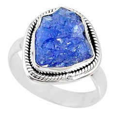8.54cts natural blue tanzanite raw silver solitaire handmade ring size 8 r74022