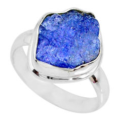 7.88cts natural blue tanzanite raw silver solitaire handmade ring size 8 r74037